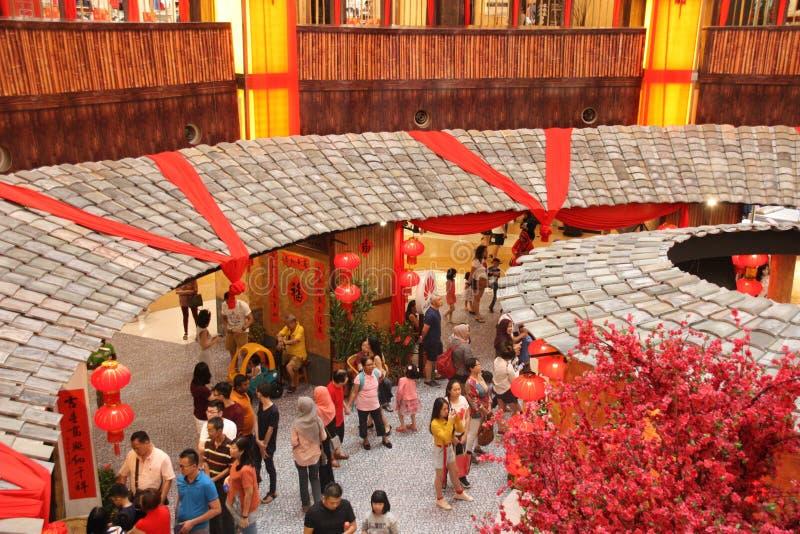 Decoración china del Año Nuevo en alameda de compras imagenes de archivo