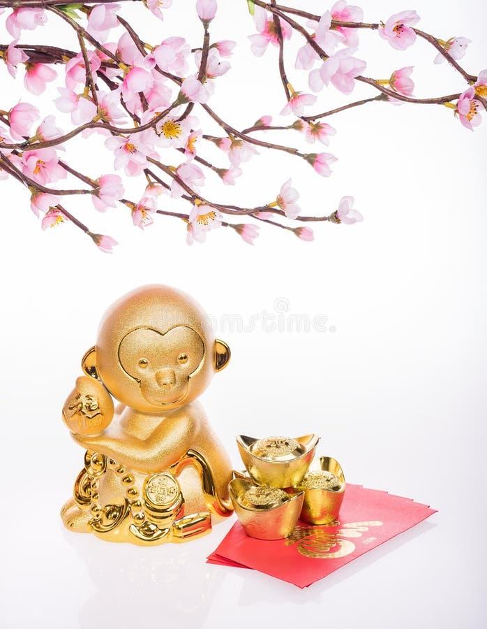Decoración china del Año Nuevo: mono de oro fotografía de archivo libre de regalías