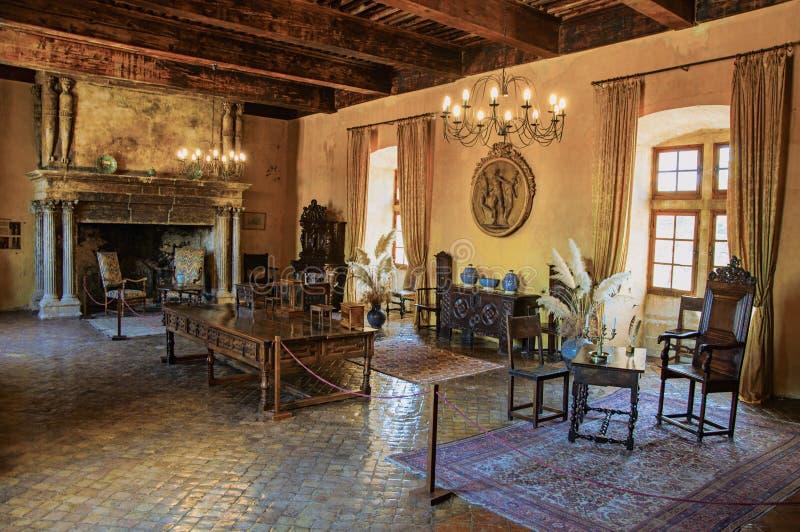 Decoración con la chimenea en pasillo en el castillo de Lourmarin fotografía de archivo