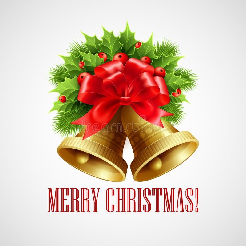Decoración con los árboles imperecederos, acebo de la Navidad stock de ilustración