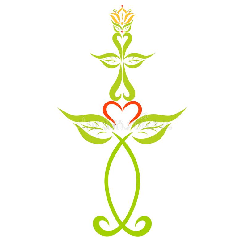 Decoración cristiana, símbolos, pescados, cruz y lirio libre illustration