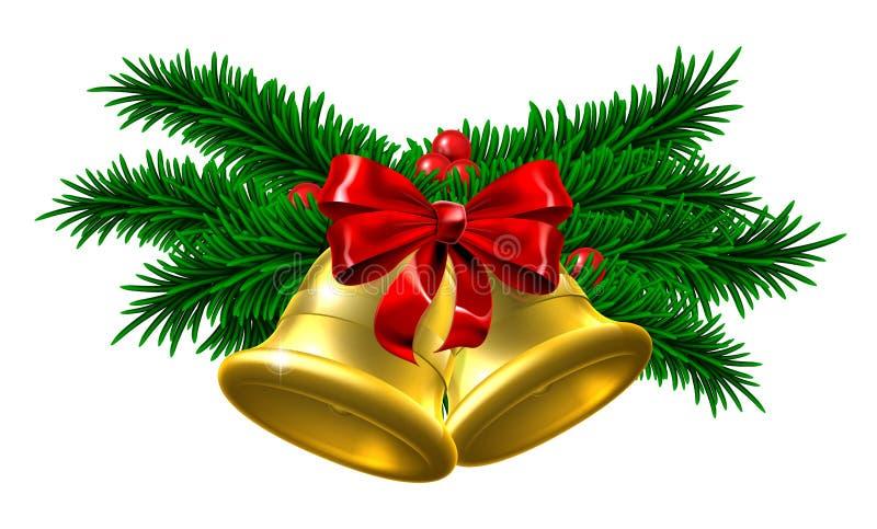 Decoración de Belces de la Navidad del oro ilustración del vector