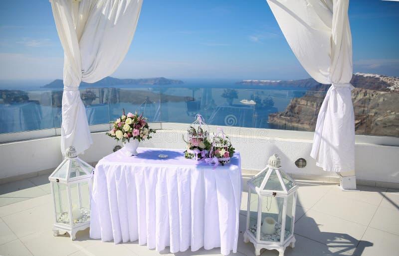 Decoración de la boda en Santorini foto de archivo libre de regalías