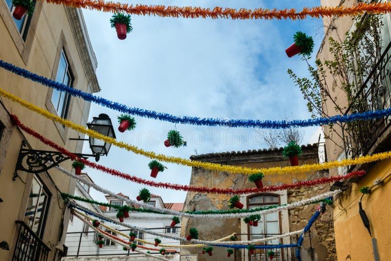 Decoración de la calle en Lisboa fotografía de archivo