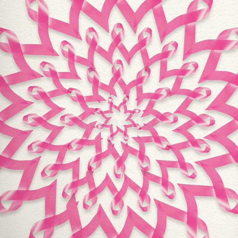 Decoración de la cinta del rosa de la conciencia del cáncer de pecho stock de ilustración