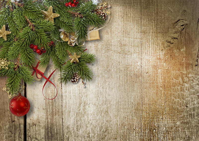 Decoración de la esquina de la frontera de la Navidad en la madera imagen de archivo libre de regalías