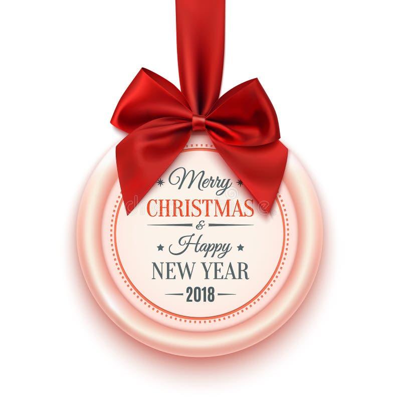 Decoración 2018 de la Feliz Navidad y de la Feliz Año Nuevo ilustración del vector
