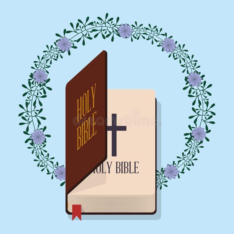 Decoración de la flor de la boda de la Sagrada Biblia ilustración del vector