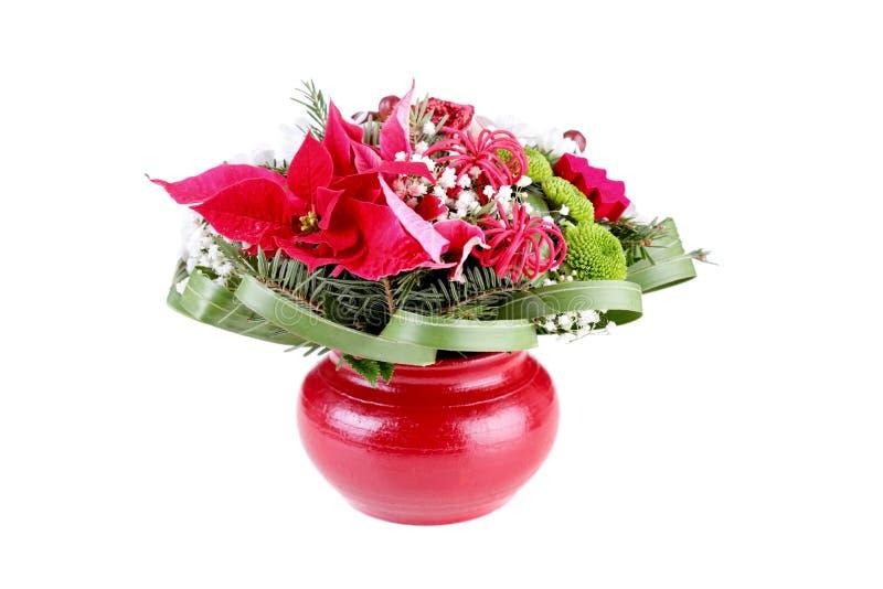 Decoración de la flor en un florero rojo fotos de archivo