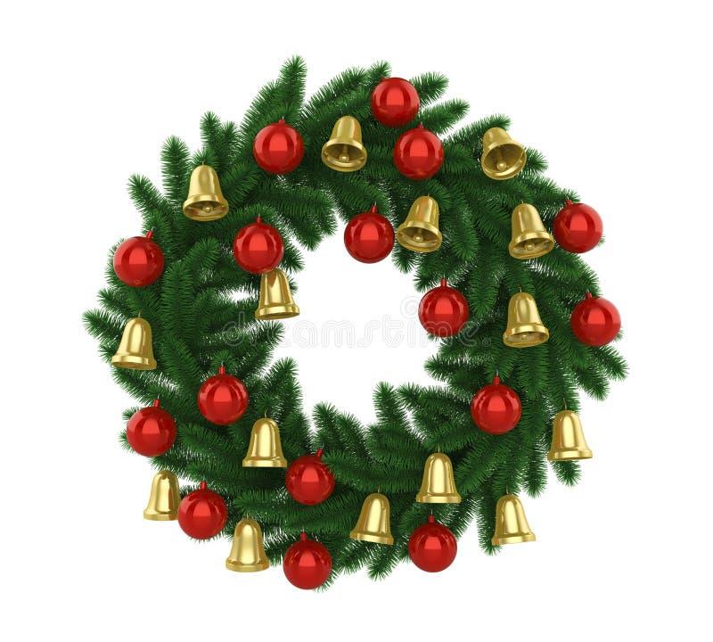 Decoración de la guirnalda de la Navidad aislada stock de ilustración