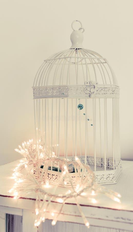 decoracin de la luz de la navidad en jaula foto de archivo