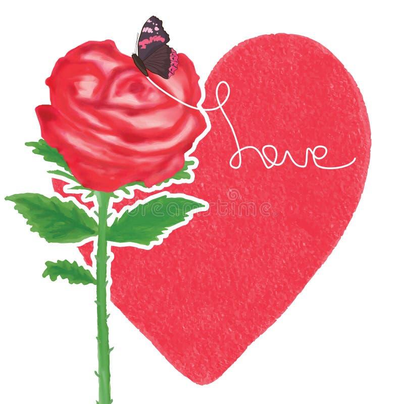 Decoración de la mariposa de la pintura del amor de Rose ilustración del vector