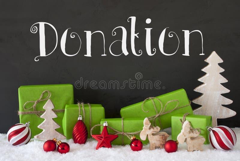 Decoración de la Navidad, cemento, donación del texto, nieve fotos de archivo libres de regalías
