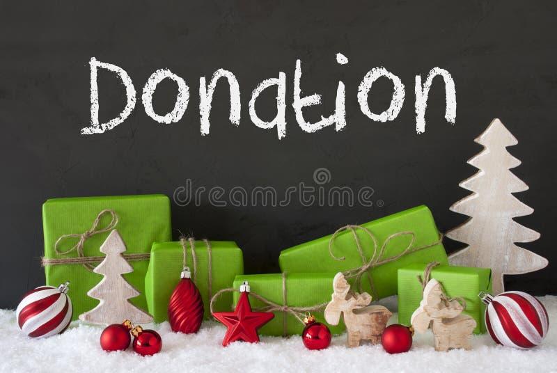 Decoración de la Navidad, cemento, nieve, donación del texto fotos de archivo libres de regalías