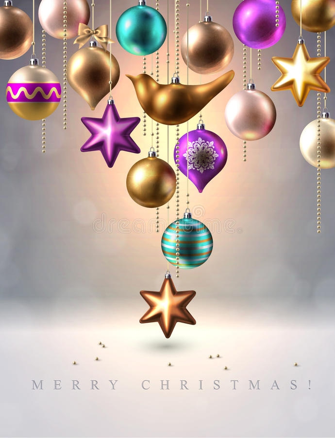 Decoración de la Navidad, chucherías, bolas, pájaro y estrella, vector stock de ilustración