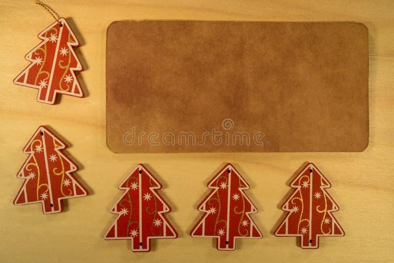 Decoración de la Navidad cinco con el espacio de la copia imagen de archivo libre de regalías