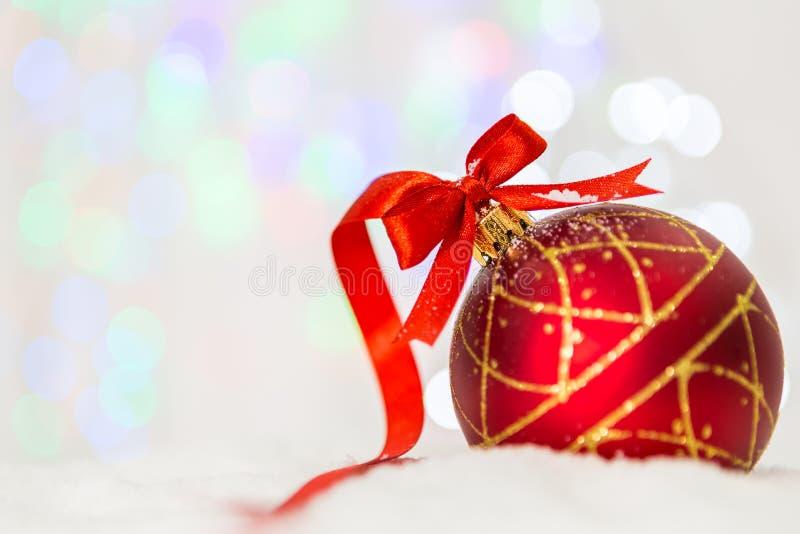 Decoración de la Navidad con el foco de Snow fotos de archivo libres de regalías