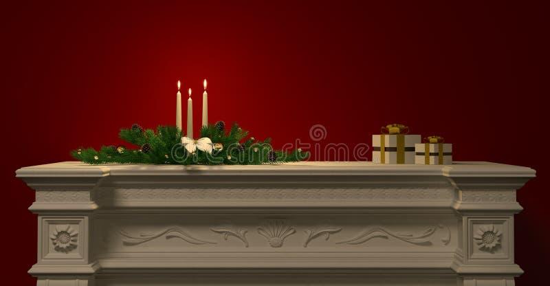 Decoración de la Navidad con las velas en la representación de la chimenea 3d libre illustration
