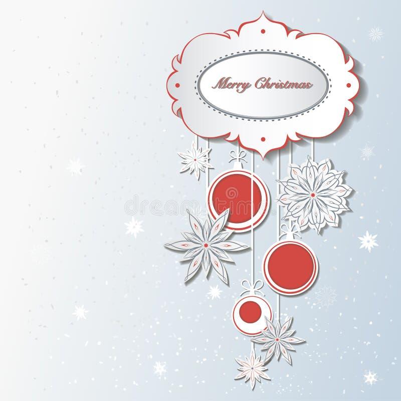Decoración de la Navidad con los copos de nieve stock de ilustración