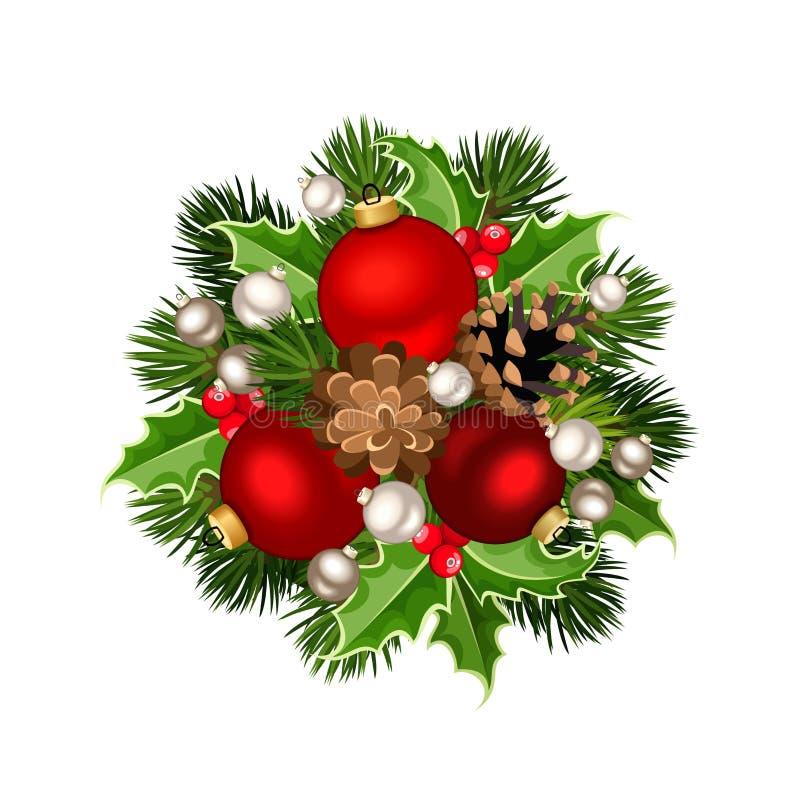 Decoración de la Navidad con rojo y bolas de la plata Ilustración del vector libre illustration