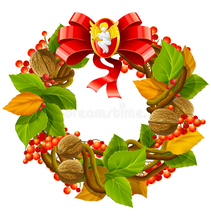 Decoración de la Navidad de la guirnalda del vector stock de ilustración