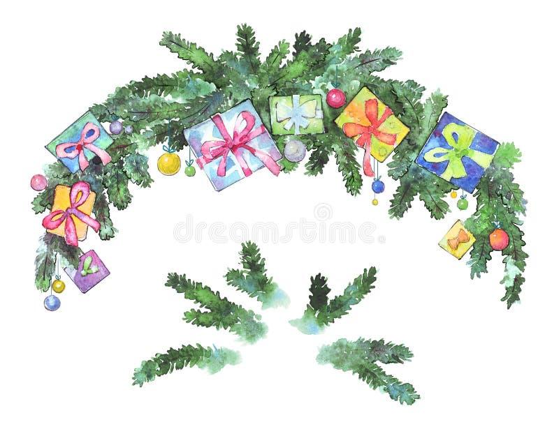 Decoración de la Navidad de las ramas del abeto imagen de archivo