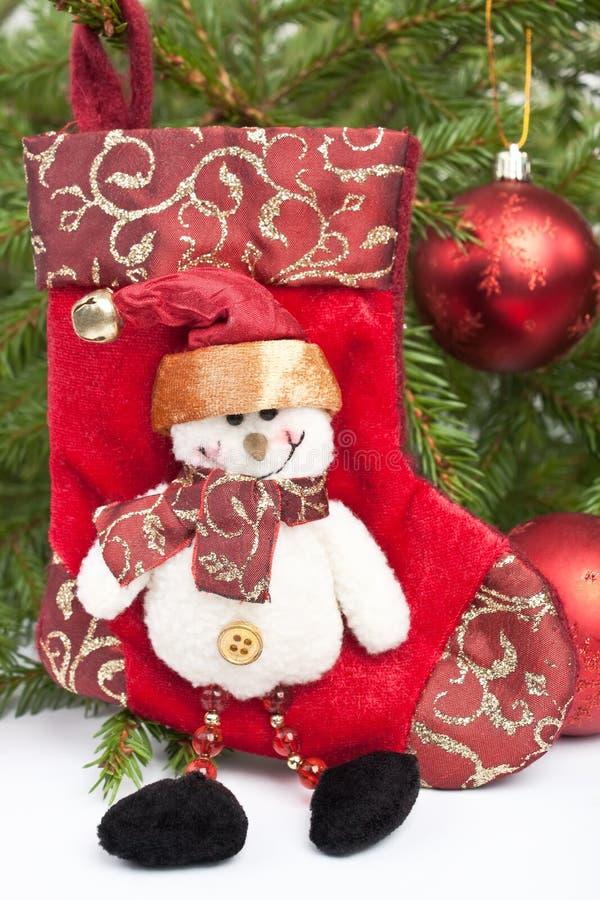 Decoración de la Navidad del muñeco de nieve imagen de archivo