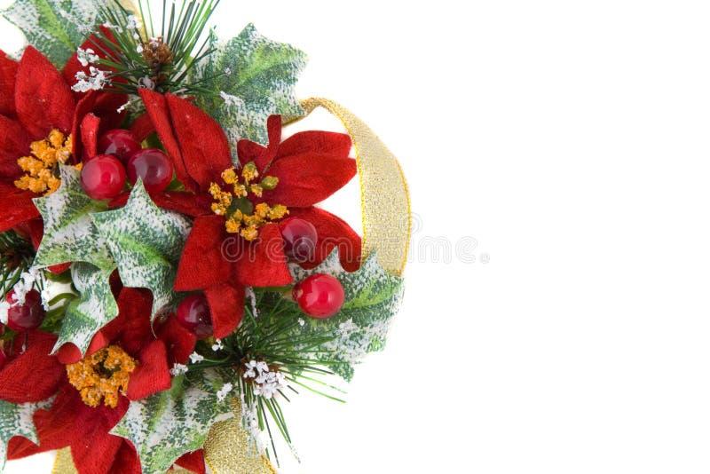 Decoración de la Navidad del Poinsettia con la cinta del oro imágenes de archivo libres de regalías