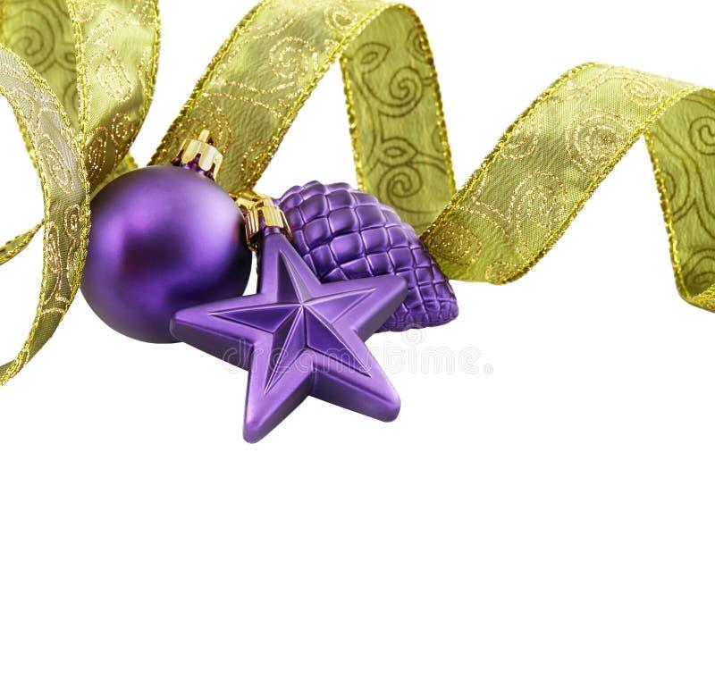 Decoración de la Navidad en el fondo blanco aislado fotografía de archivo libre de regalías