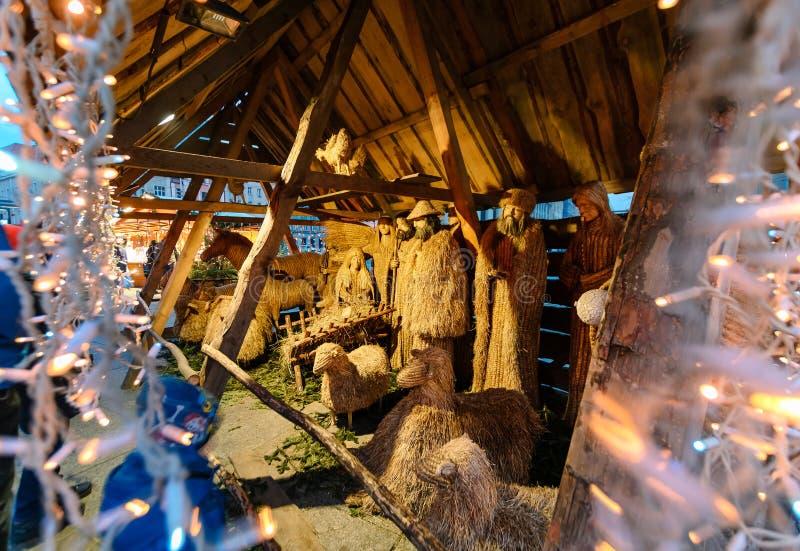 Decoración de la Navidad en la plaza del mercado de Katowice fotos de archivo libres de regalías