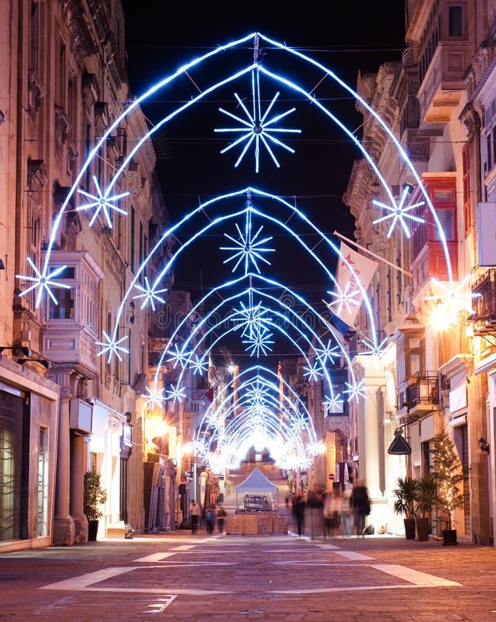 Decoración de la Navidad en Valletta, Malta imagen de archivo