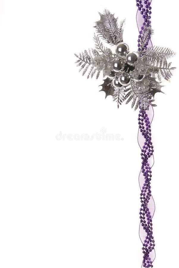 Decoración de la Navidad/fondo púrpuras y de plata fotos de archivo