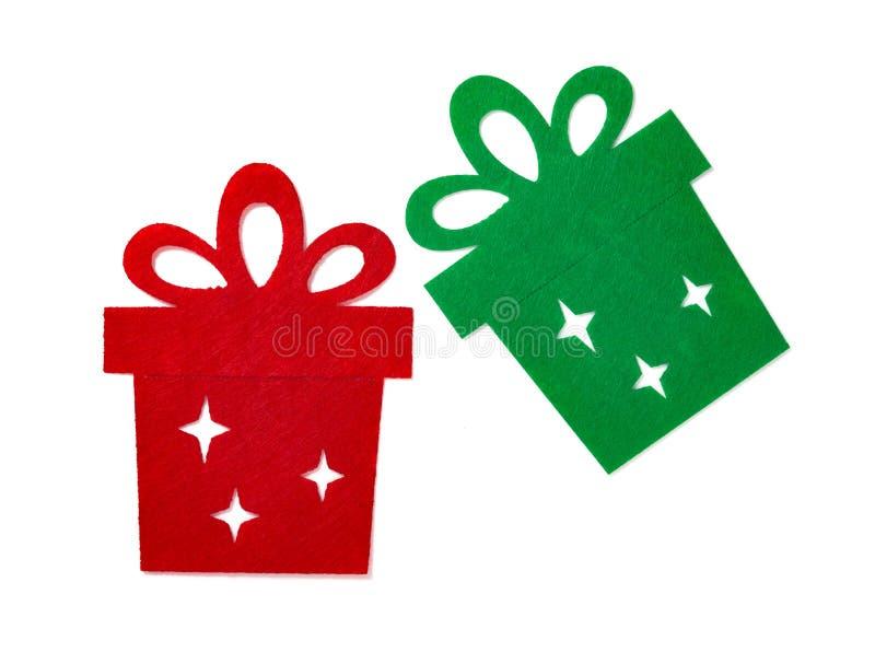 Decoración de la Navidad de las cajas de regalo planas rojas y verdes fotografía de archivo