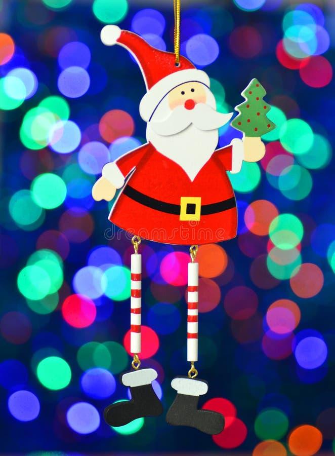 Decoración de la Navidad, Papá Noel en fondo colorido del bokeh fotos de archivo libres de regalías