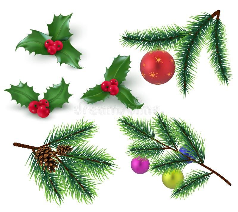 Decoración de la Navidad Ramas de árbol realistas de abeto y bayas, hojas del acebo y chuchería rojas de la Navidad Vacaciones de libre illustration
