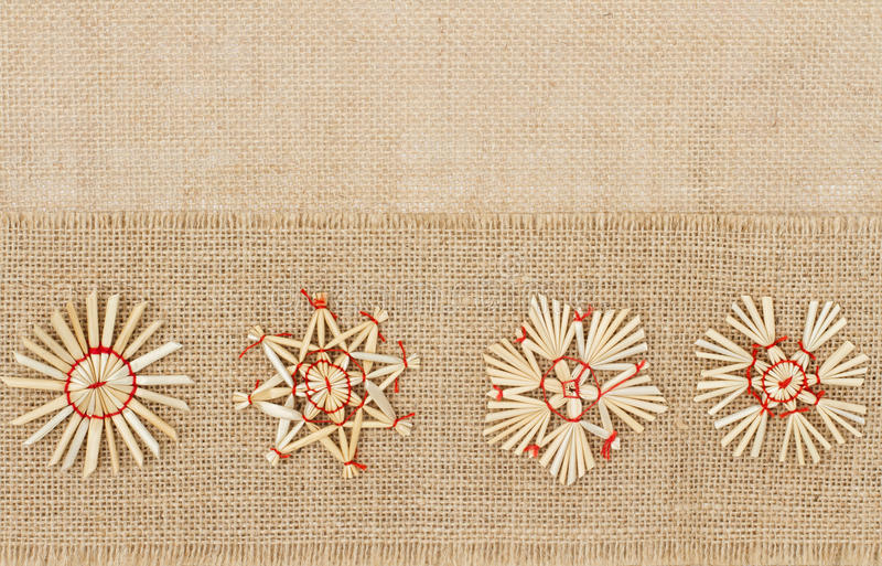 Decoración de la Navidad, Straw Star Snowflake, harpillera decorativa foto de archivo