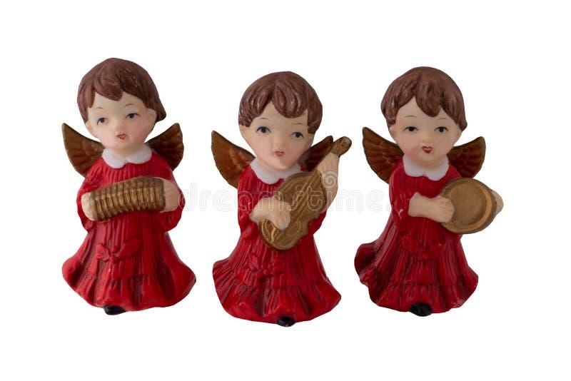 Decoración de la Navidad Tres viejos ángeles hermosos de la Navidad hicieron foto de archivo libre de regalías
