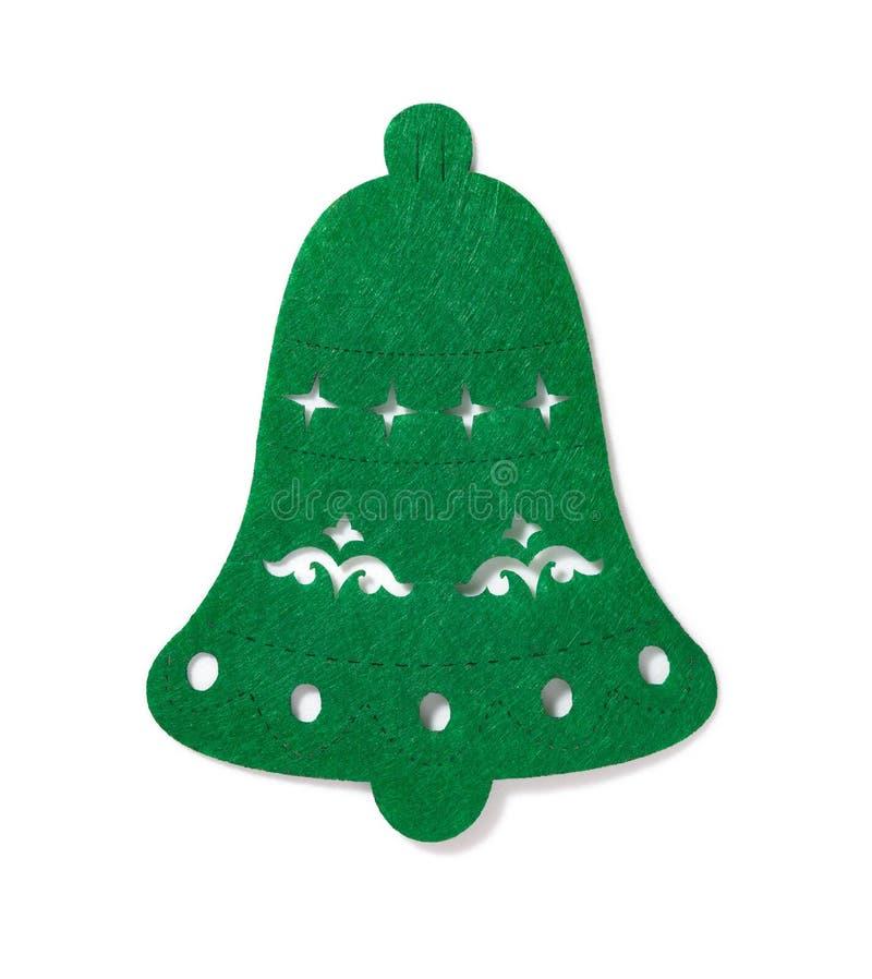 Decoración de la Navidad de una campana plana verde en blanco foto de archivo