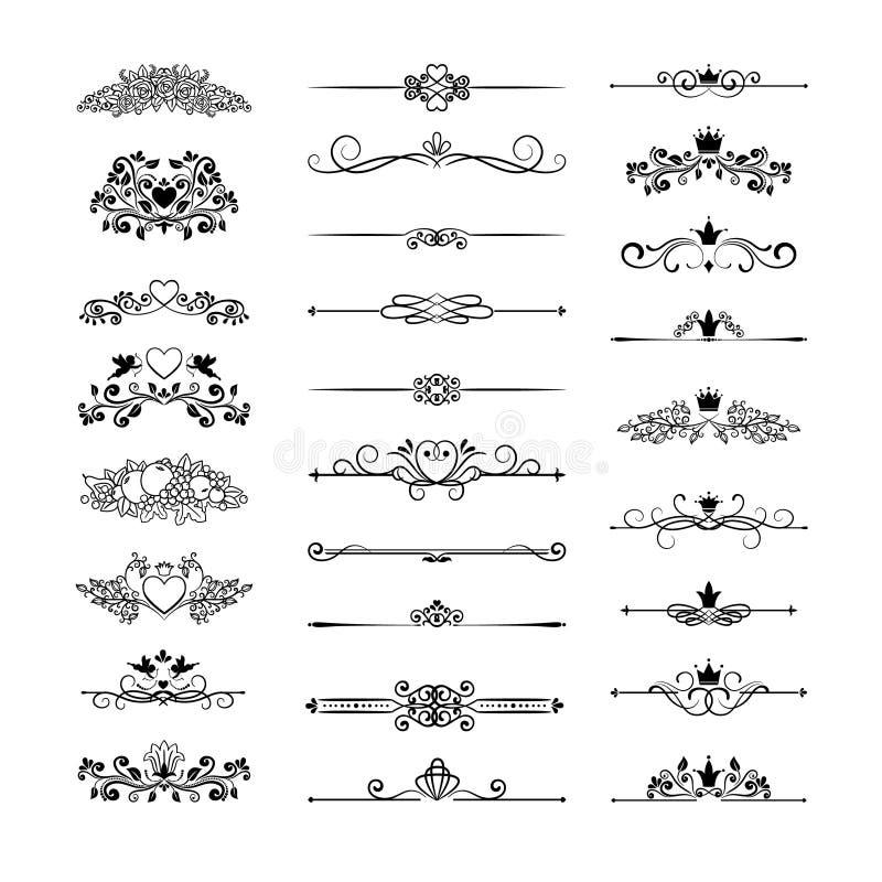 Decoración de la página con las coronas stock de ilustración