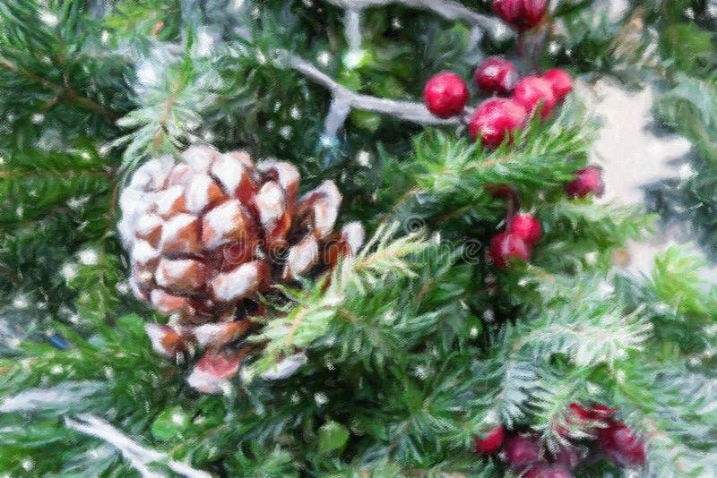 Decoración de la rama de árbol de navidad con las bayas rojas libre illustration