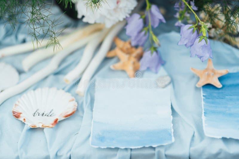 Decoración de las estrellas de mar y de la boda de la concha marina fotos de archivo libres de regalías