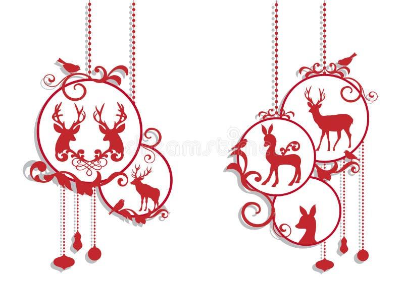 Decoración de los ciervos de la Navidad, vector libre illustration