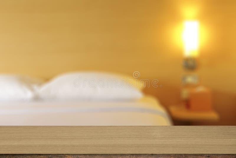 Decoración de madera del dormitorio del fondo del escritorio fotografía de archivo