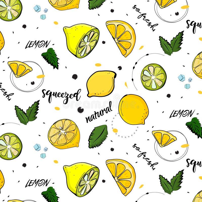 Decoración de moda del verano del vector Dibujo de la fruta del limón con las hojas de menta Textura dulce vegetariana natural ju libre illustration