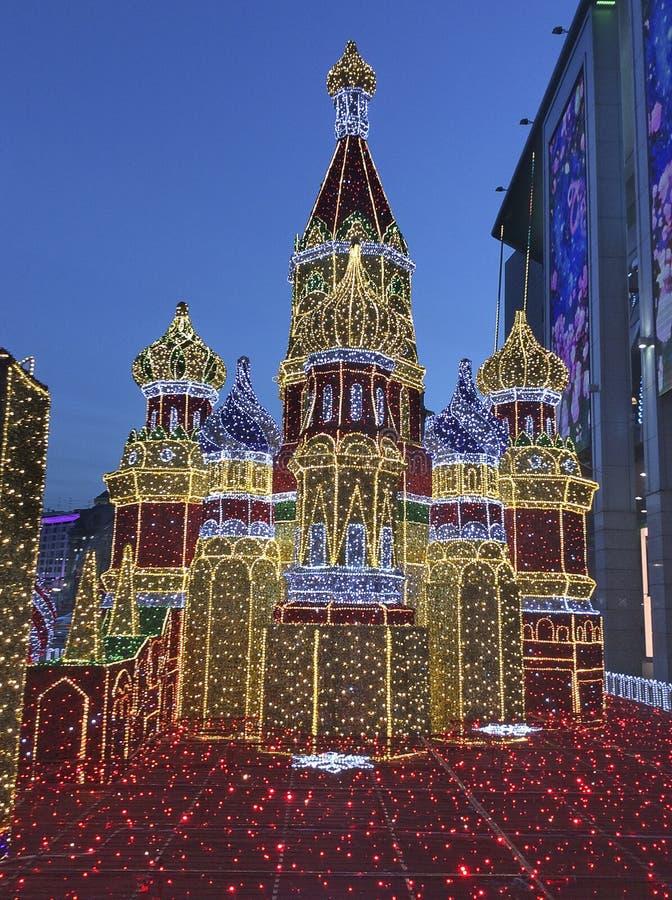 Decoración de Moscú el Kremlin por Año Nuevo de la Navidad Rusia fotos de archivo