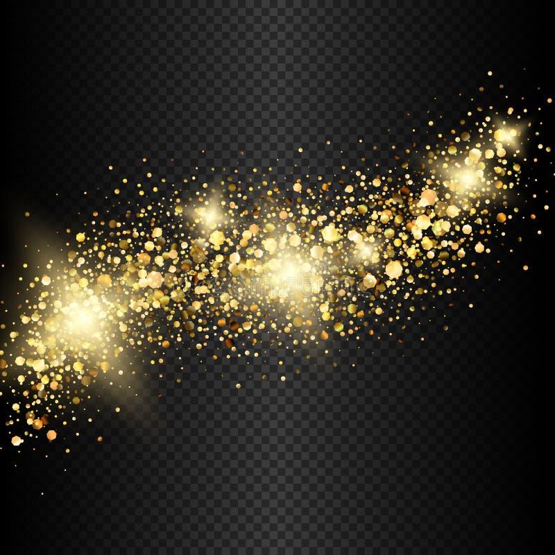 Decoración de oro brillante aislada vector del confeti del brillo ilustración del vector