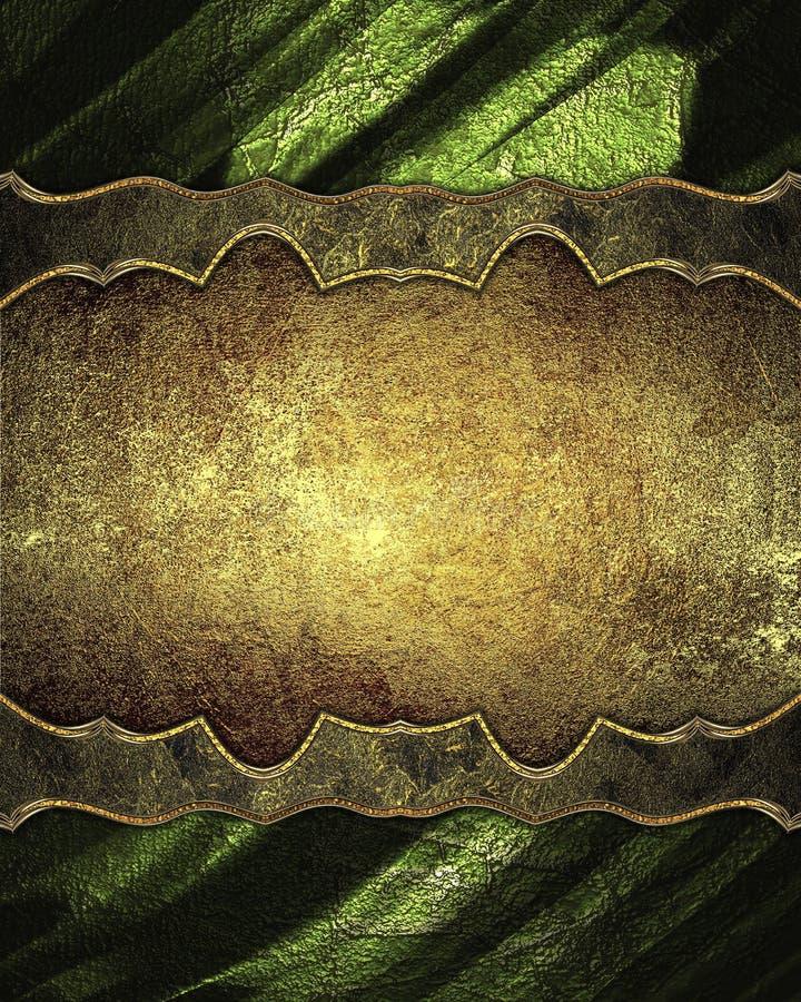 Decoración de oro con textura verde Plantilla para el diseño copie el espacio para el folleto o la invitación del aviso, backgro  ilustración del vector