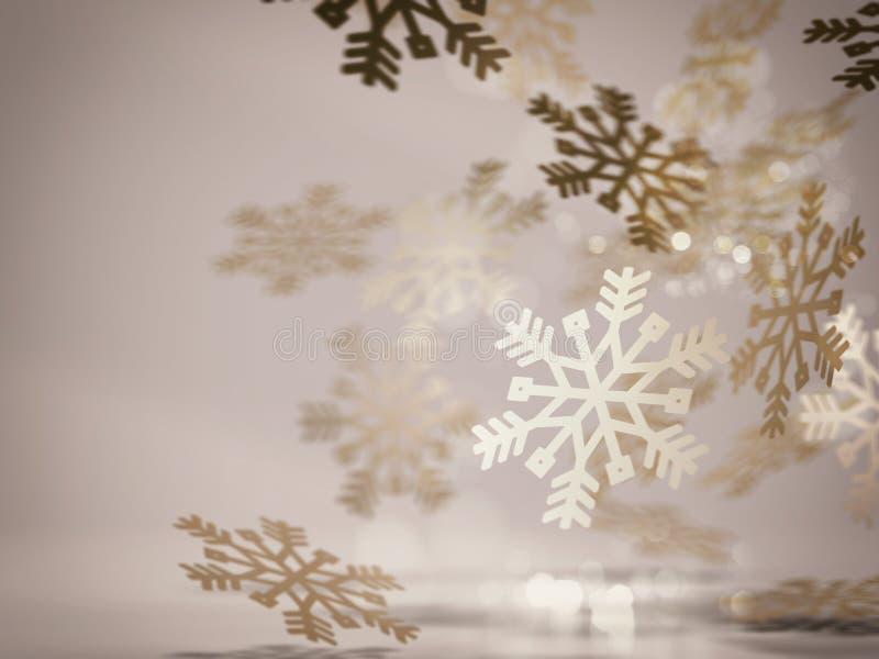 Decoración de oro de los copos de nieve representación 3d ilustración del vector
