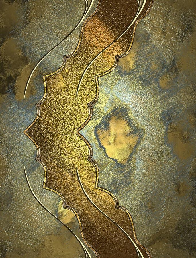 Decoración de oro en textura del grunge Plantilla para el diseño copie el espacio para el folleto del anuncio o la invitación del libre illustration