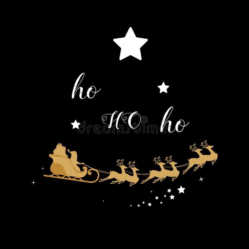 decoración de oro de la Navidad Silueta del oro del reno del trineo de Papá Noel en fondo negro ilustración del vector
